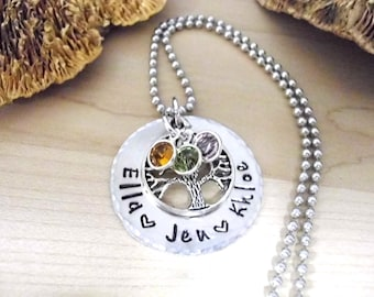 Family Tree Jewelry, Grandma Gift, Mother's Day Jewelry, Personalized Jewelry, Mom Jewelry, Washer Necklace, Personalized Gift 1 to 4 Names
