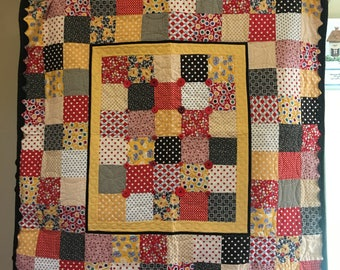 "Patchwork Lap/Table Topper Quilt, 117x124cm (""46x49""), Retro, Vintage, Floral, Dot, Check, Herring Bone Patterns, Button and Ric Rac Detail"
