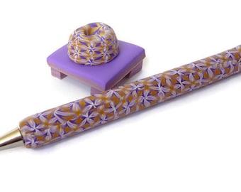 Kaleidoscope Pen, Polymer Clay Pen,  Pen Purple Beige, Desk Pen Set,  Pen Set Gift, Pen Desk Accessory, Blogger Pen Set, Teacher Pen Gift