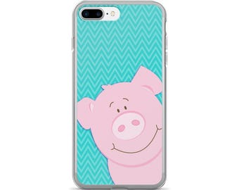 Cute Pink Pig iPhone 7/7 Plus Case / Teal Color Background