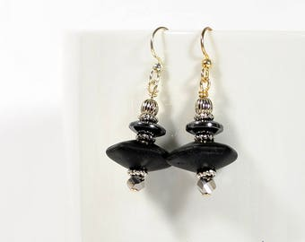 Black Earrings Dangle Earrings Drop Earring Black Silver One of a Kind Handmade Jewelry Lever Back Earring Sterling Silver
