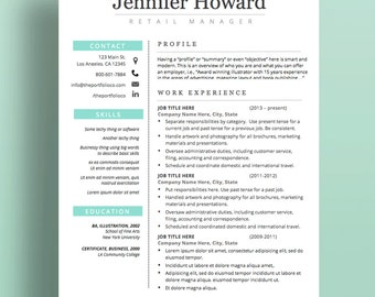 "Resume Template | CV Template + Cover Letter | Modern Resume Designs | Mac or PC | Fully Customizable (""Alameda"")"