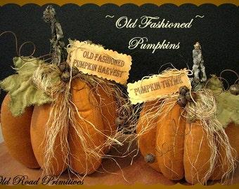 Primitive Pumpkin Pattern Old Fashioned Pumpkins Fall Pattern