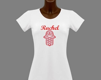 T-shirt women white red Hamsa hand personalized with name