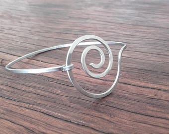 Hand shaped surgical steel Bangle Bracelet