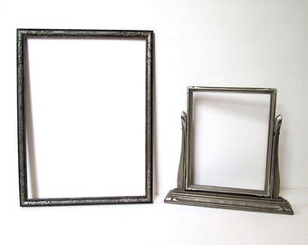 2 Silver Picture Frames: One Tabletop Swing Frame; One Rectangular/Finished Corners, Antique Embossed, Excellent Condition, Ready to Use