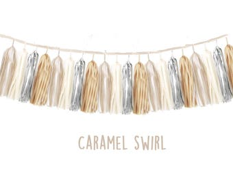 Tissue tassel garland  fully assembled -Champagne-caramel-silver-cream Gold- bridal Shower-Nursery decor-booth backdrop-