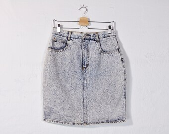 90s Denim Skirt, Acid Wash Denim Skirt, Denim Mini Skirt, Denim Pencil Skirts, High Waisted Skirt, Vintage Denim Skirt Size Large