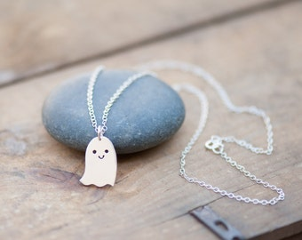 Sterling Silver Happy Ghost Necklace - Hand Sawn - Halloween