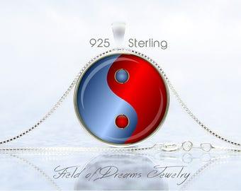 MODERN YIN YANG Pendant Sterling Jewelry Yin Yang Necklace Yin Yang Gift Yoga Jewelry Yoga Gift Taoist Necklace Buddhist Necklace Blue Red