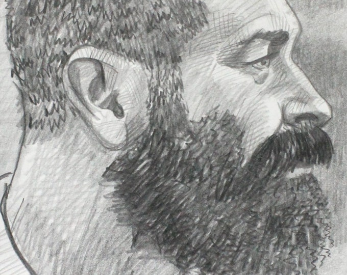Beard Bearer, graphite on cotton paper, 9x12 inches by KennEy Mencher