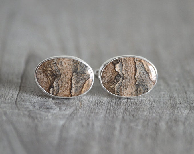 Jasper Cufflinks Set In Sterling Silver, Gemstone Cufflinks For Him, Brown Jasper Cufflinks, Wedding Gift Handmade In The UK