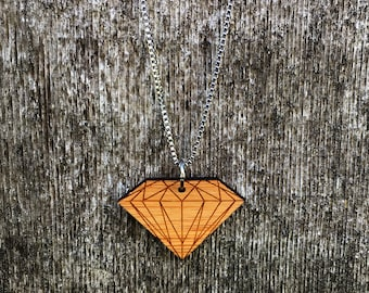 laser cut diamond bamboo necklace