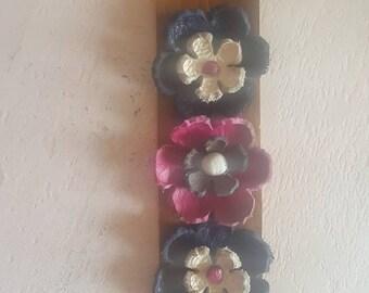 Leather, Boho, Floral Cuff Bracelet