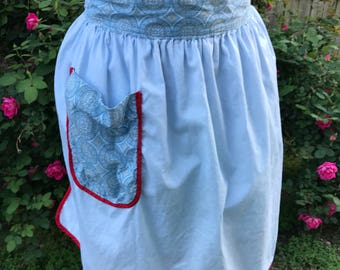 Vintage Ladies' Reversible Blue & Red Half Apron