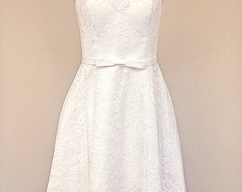 BRIGITTA-NEW Custom made Tea Length Lace Wedding dress-CRBoggs Original Design-Custom made to your size-