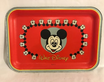 Old Metal tray stamped WALT DISNEY Massilly France Vintage MICKEY