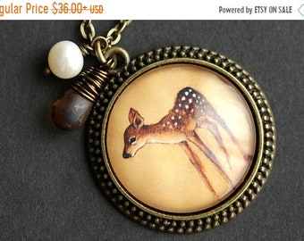 MOTHERS DAY SALE Fawn Necklace. Baby Deer Pendant with Frosted Brown Teardrop and Fresh Water Pearl. Baby Deer Necklace. Fawn Pendant. Bronz
