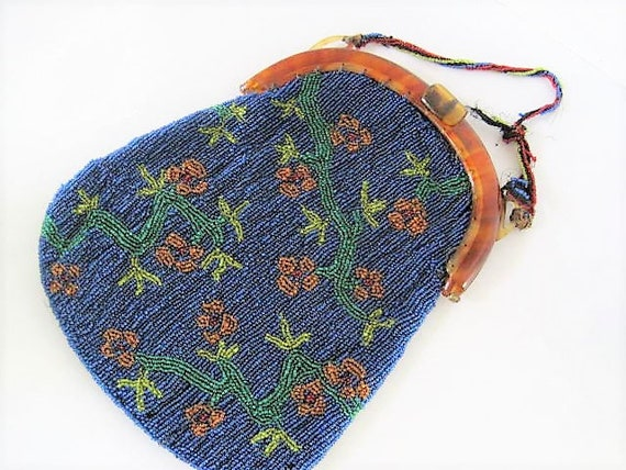 Hand Beaded Purse, Antique 20's, Blue Floral Beaded, Tortoiseshell Frame