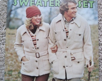 Knit and Crochet Pattern Leaflet - The Sweater Set - Columbia-Minerva Book 2561 - Vintage