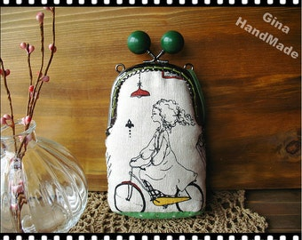 Bicycle Girl in Green season Candy bead Metal frame purse/coin purse / Coin Wallet /Pouch / Kiss lock frame bag-GinaHandMade