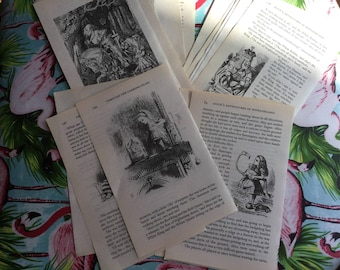15 x Alice in Wonderland/Through the Looking Glass vintage book pages. Card making, Scrapbooking, smash book, junk journal, collage