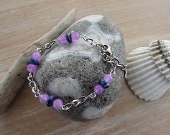 "Silver Mesh Bracelet bracelet natural stones, purple and blue ""Lilac"""