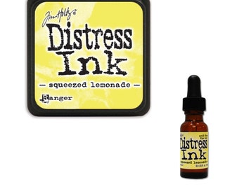 Tim Holtz Ranger Distress Ink Duo-Squeezed Lemonade-Ink Pad and Reinker Bundle