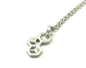 SALE Honeycomb Necklace, Bee Necklace