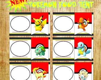 pokemon food tents, pokemon food labels, pokemon party, pokemon birthday, pokemon labels, food tents, pokemon food tent, pokemon food