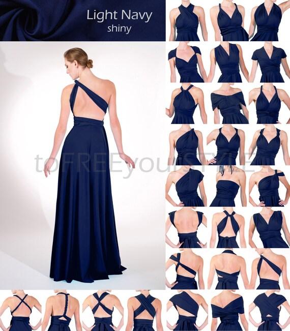 Long infinity dress in LIGHT NAVY blue shiny FULL Free-Style