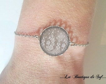 Bracelet fine silver with 18 mm cabochon * lace * (070218)