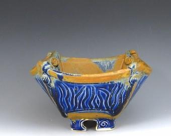 Square Pottery Serving Bowl, Cobalt Mocha