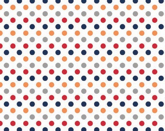 Boy Small Dots Fabric by Riley Blake Designs - Red, Orange, Navy, Gray - by the Yard - 1 Yard - C350-02
