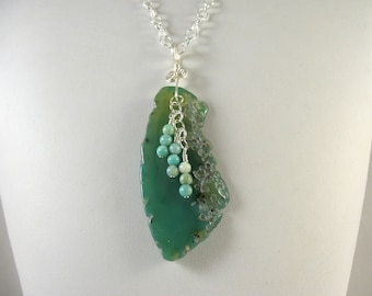 Polished Turquoise Agate Pendant on Chain Necklace