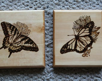 Trivets:  Set of 2 wooden butterfly trivets or wall hangings, SHIPS FREE!!
