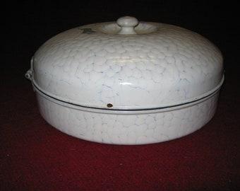 Mid-Century Chicken Wire Enamel Ware Bread Box