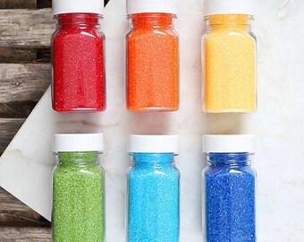 Happy Rainbow Sanding Sugar Set, Rainbow Party Sprinkles Set, Rainbow Cake Pop Sugar, Cocktail Rimming Sugar, Sugar Cookie Sprinkles