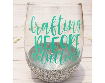 Crafting Before Adulting / Glitter Dipped Stemless Wine Glass / Crafters / DIYers / Gift / Makers