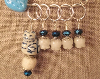 Stitch Markers Knitting Beaded Cat Bead