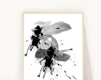 Minimalist Art, Abstract Art Print, Printable Art, Watercolor, Wall Art, Digital Download, Wall Decor, Black Abstract
