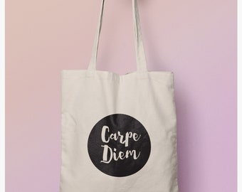 Carpe Diem Tote Bag, Eco Shopping Bag,