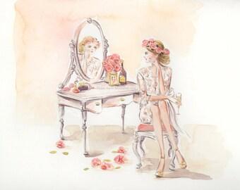Watercolor Wedding Portrait - Custom Bridal Illustration, Wedding Art , Bridesmaid Sketch ,Bridal Shower Gift, Boudoir , Save the Date Card