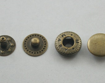 100 sets. Antique Brass Metal Snap Buttons Shirts Fasteners Rivet Press Stud Fashion Snap Sizes 10 mm. SNP Br VT 2 11 RV K