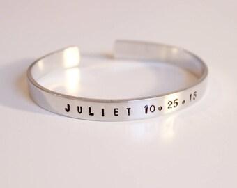 Hand Stamped Name Cuff Bracelet, Silver Cuff Bracelet, Adjustable Cuff Bracelet, Bracelet with Name and Date, Women's Cuff Bracelet