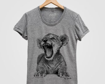 LION CUB Shirt Women Screen Print Tri-Blend Short Sleeve Tshirt Available: S, M, L, XL