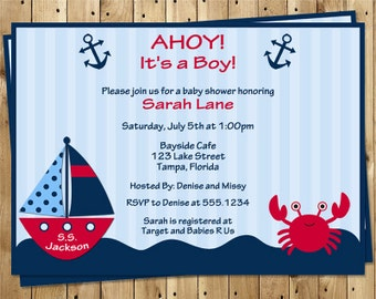 Nautical Baby Shower Invitations, Boy, Ahoy It's A Boy, Boat, Whale, Crab, Anchor, Navy, Red, Sailboat, Stripes, 10 Printed Invites