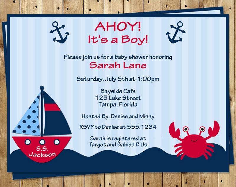 Nautical Baby Shower Invitations Boy Ahoy It\'s A Boy