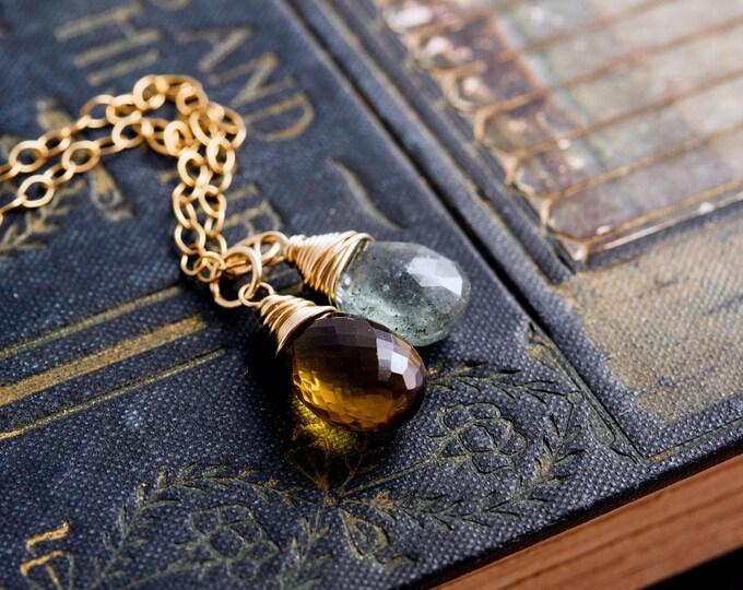 Moss Aquamarine Necklace, Moss Aquamarine, March Birthstone, Gold Necklace, Whiskey Quartz, Wire Wrapped, Gemstone Pendant, Gold Filled