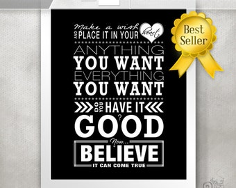 One Tree Hill Print / Make a Wish / Word Art / Inspiring Gift / Typography Poster / Believe // 5x7 / 8x10 / 11x14